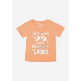TNE7006 - Áo thun trẻ em cổ tròn tay ngắn in chữ I'm Always Getting Picked Up By Lady (cà rốt nhạt)