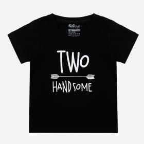TNE7202 -  Áo thun cổ tròn tay ngắn in chữ Two Handsome ( Màu đen)