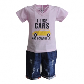 KST201 - Kidset áo thun cổ tim màu trắng in chữ I like Car và quần jean short lưng bo
