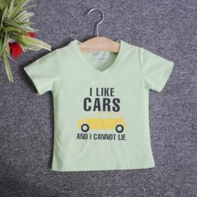 VNE7113 - Áo thun trẻ em cổ tim tay ngắn in chữ I Like Car (Xanh bơ)