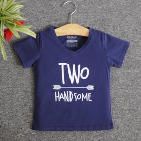VNE7214 - Áo thun trẻ em cổ tim tay ngắn in chữ Two Handsome (Xanh navy)