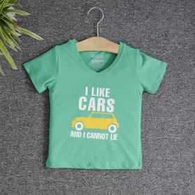 VNE7112 - Áo thun trẻ em cổ tim tay ngắn in chữ I Like Car (Xanh lá)