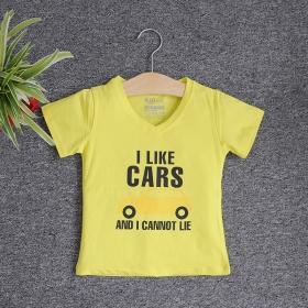 VNE7111 - Áo thun trẻ em cổ tim tay ngắn in chữ I Like Car (Vàng chanh)