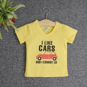 VNE7110 - Áo thun trẻ em cổ tim tay ngắn in chữ I Like Car (Vàng)
