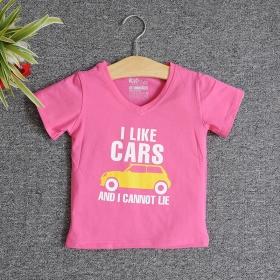 VNE7108 - Áo thun trẻ em cổ tim tay ngắn in chữ I Like Car (Hồng sen)
