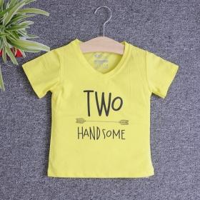 VNE7211 - Áo thun trẻ em cổ tim tay ngắn in chữ Two Handsome (Vàng chanh)