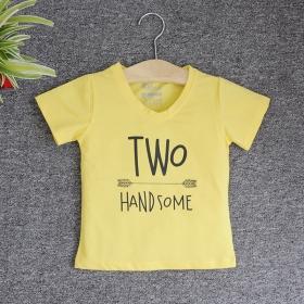 VNE7210 - Áo thun trẻ em cổ tim tay ngắn in chữ Two Handsome (Vàng)