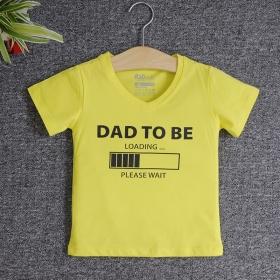 VNF7011 - Áo thun trẻ em cổ tim tay ngắn in chữ Dad To Be (Vàng chanh)