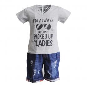 KST105 - KidSet Áo thun cổ tim màu cam cà rốt in chữ và quần Jean short lưng bo