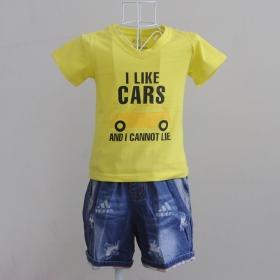 KST1011 - Kidset áo thun cổ tim màu vàng chanh in chữ I like Car và quần jean short lưng thun