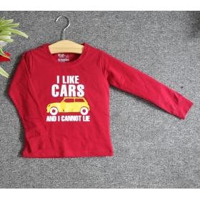 TDE7104 - Áo thun trẻ em cổ tròn tay dài in chữ I Like Car (Đỏ đậm)
