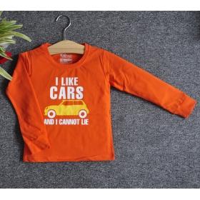 TDE7105 - Áo thun trẻ em cổ tròn tay dài in chữ I Like Car (Cam cà rốt)