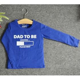 TDE7320 - Áo thun trẻ em cổ tròn tay dài in chữ Dad to be (Xanh bích)