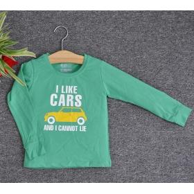 TDE7112 - Áo thun trẻ em cổ tròn tay dài in chữ I Like Car (Xanh lá)