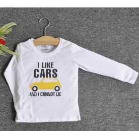 TDE7101 - Áo thun trẻ em cổ tròn tay dài in chữ I Like Car (Trắng)