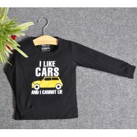 TDE7102 - Áo thun trẻ em cổ tròn tay dài in chữ I Like Car (Đen)