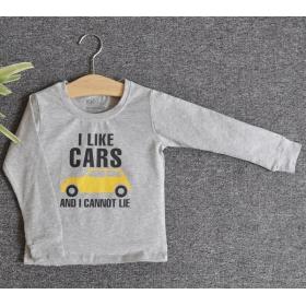 TDE7103 - Áo thun trẻ em cổ tròn tay dài in chữ I Like Car (Xám)
