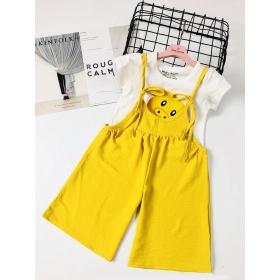 BG180902-Set Jumpsuit kèm áo thun in mặt heo