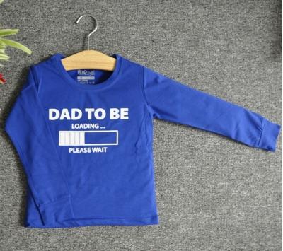 TDE7312 - Áo thun trẻ em cổ tròn tay dài in chữ Dad to be (Xanh lá)