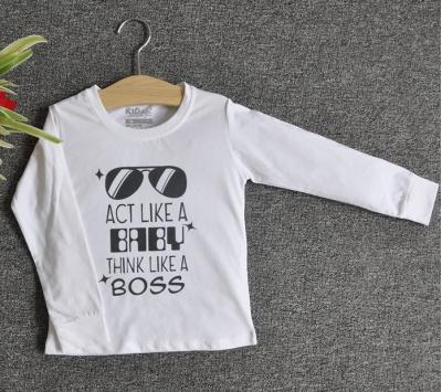 TDE6920 - Áo thun trẻ em cổ tròn tay dài in chữ Think Like a Boss (Xanh bích)