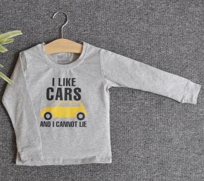 TDE7110 - Áo thun trẻ em cổ tròn tay dài in chữ I Like Car (Vàng)