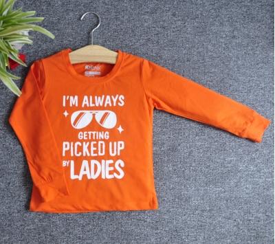 TDE7020 - Áo thun trẻ em cổ tròn tay dài in chữ I'm Always Getting Picked Up By Ladies (Xanh bích)
