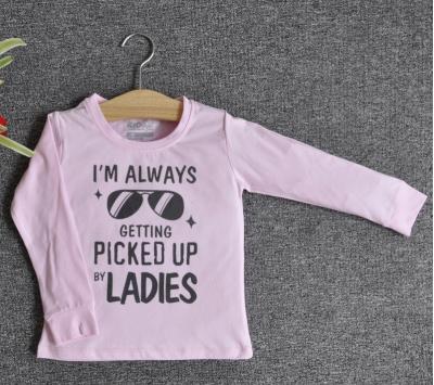 TDE7012 - Áo thun trẻ em cổ tròn tay dài in chữ I'm Always Getting Picked Up By Ladies (Xanh lá)