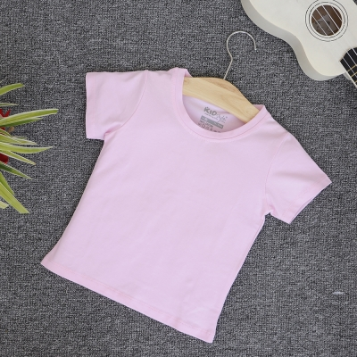TN07- Áo thun trơn trẻ em cổ tròn tay ngắn (Màu hồng cam)