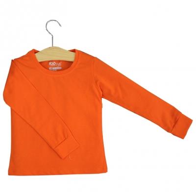 TD05 - Áo thun trơn trẻ em cổ tròn tay dài (Màu cam cà rốt)