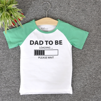 RNE7328 - Áo Raglan tay ngắn in chữ Dad To Be ( Xanh Bích )