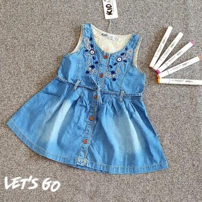 Đầm jean bé gái thêu hoa 1-8