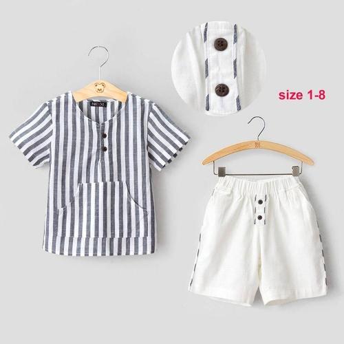 Set bé trai áo vải kate sọc- BT2280502