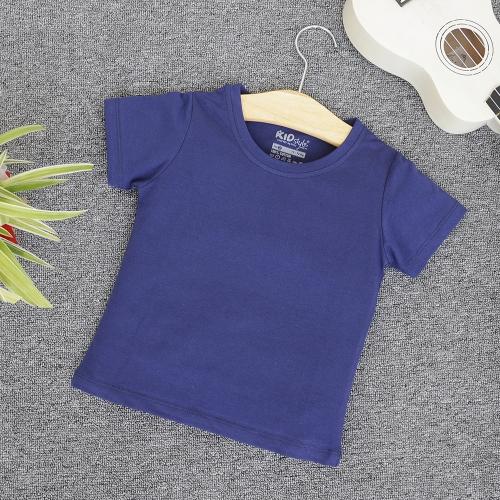 TN14 - Áo thun trơn trẻ em cổ tròn tay ngắn (Màu xanh navy)