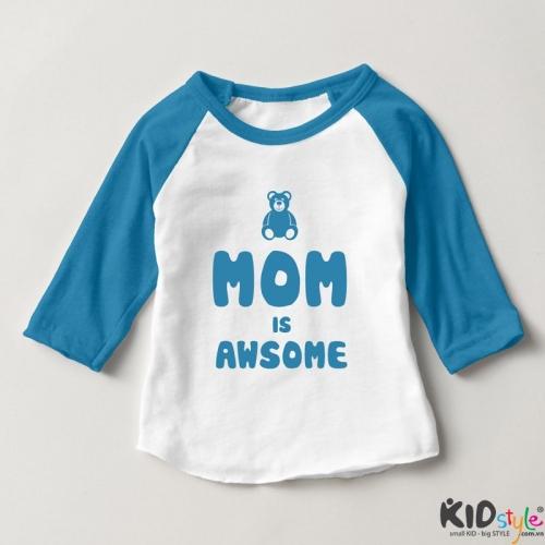 Áo thun trẻ em ráp lăng tay 3/4 in Mom Is Awsome