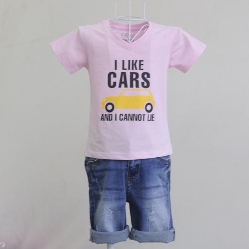 KLT503 - Kidset áo thun cổ tim màu xám in chữ I like Car và quần jean lửng Kidstyle