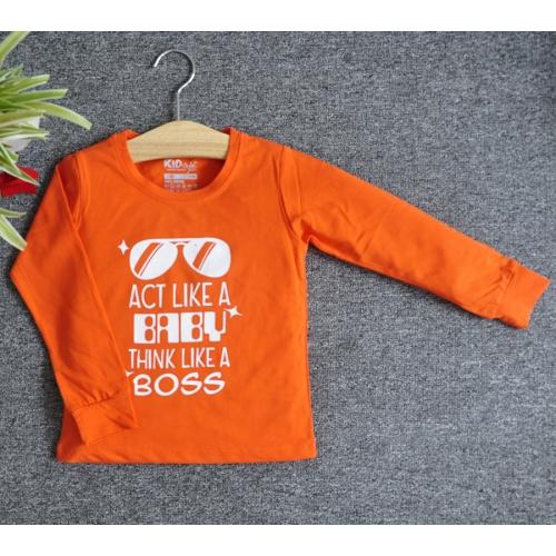 TDE6910 - Áo thun trẻ em cổ tròn tay dài in chữ Think Like a Boss (Vàng)