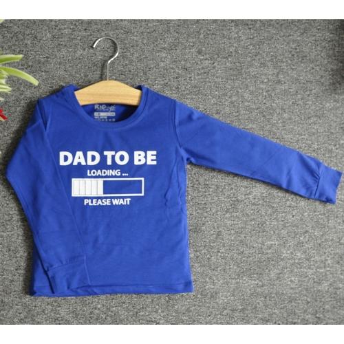 TDE7308 - Áo thun trẻ em cổ tròn tay dài in chữ Dad to be (Hồng sen)