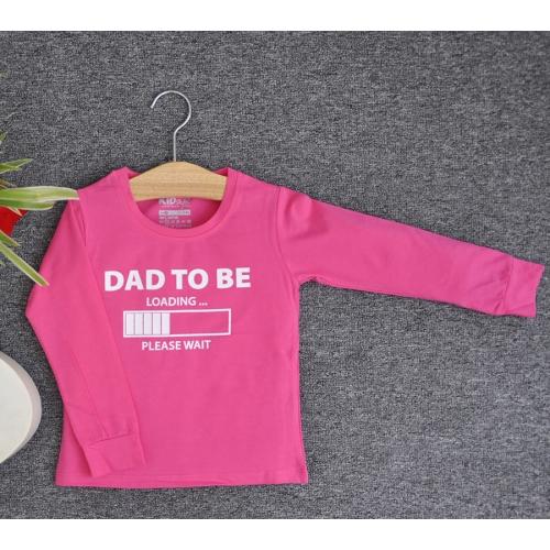 TDE7301 - Áo thun trẻ em cổ tròn tay dài in chữ Dad to be (Trắng)