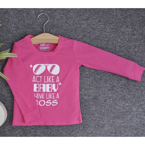 TDE6902 - Áo thun trẻ em cổ tròn tay dài in chữ Think Like a Boss (Đen)