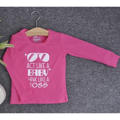 TDE6909 - Áo thun trẻ em cổ tròn tay dài in chữ Think Like a Boss (Hồng phấn)