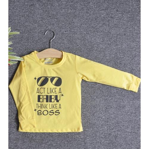 TDE6903 - Áo thun trẻ em cổ tròn tay dài in chữ Think Like a Boss (Xám)