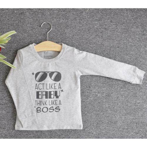 TDE6901 - Áo thun trẻ em cổ tròn tay dài in chữ Think Like a Boss (Trắng)
