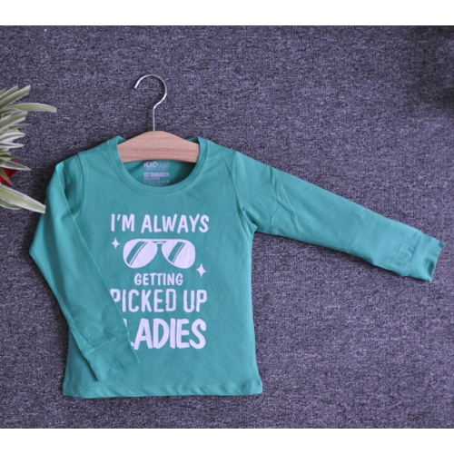 TDE7005 - Áo thun trẻ em cổ tròn tay dài in chữ I'm Always Getting Picked Up By Ladies (Cam cà rốt)