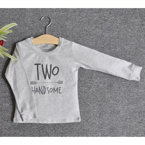 TDE7201 - Áo thun trẻ em cổ tròn tay dài in chữ Two Handsome (Trắng)