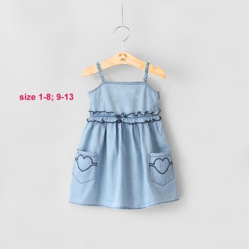 DG230701 - Đầm jean 2 dây thêu túi