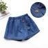 Quần váy jean phối bèo đính nút-QG2240601