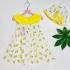 Đầm trái chanh cổ nơ kèm nón-DG2310801