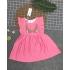 DG140501- Đầm tơ sọc thêu hoạ tiết